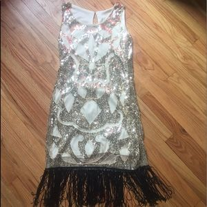 Vintage gold sequin and mesh shimmy dress sz 10/12